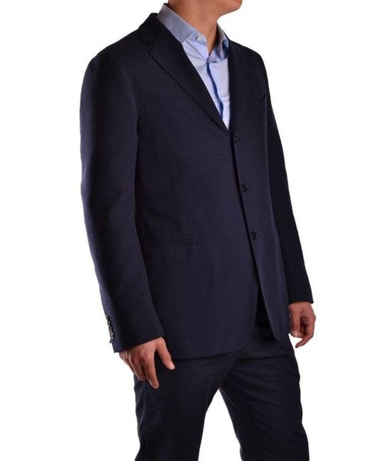 Piombo Blue Cotton Blazer for men
