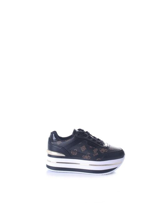 Guess Black Fl5hnsfal12 Leather Sneakers