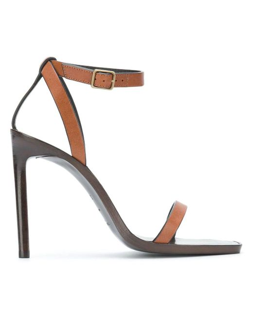 57bd76ea640 Lyst - Saint Laurent Brown Leather Sandals in Brown - Save 48%