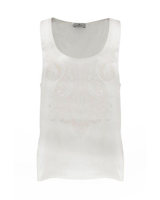 Etro White Silk Tank Top