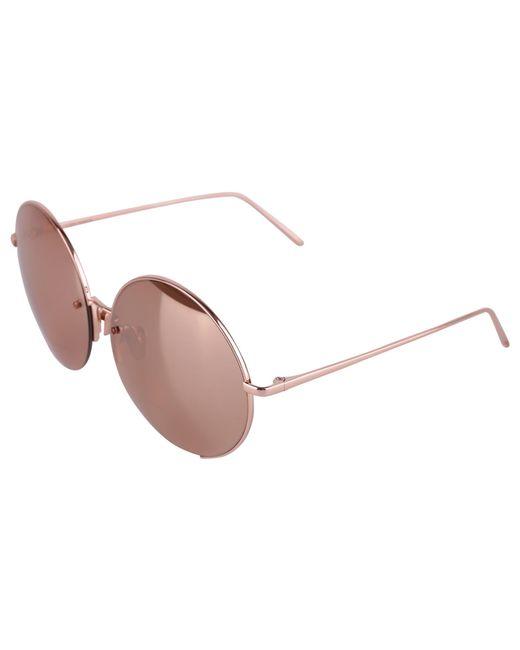 Linda Farrow Metallic Bronze Metal Sunglasses