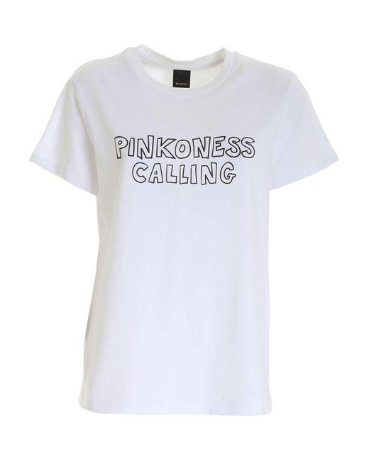 Pinko White BAUMWOLLE T-SHIRT