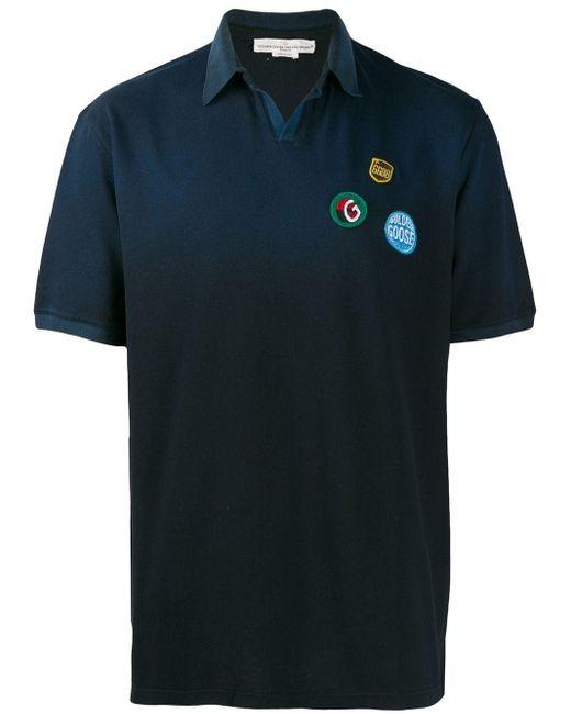 Golden Goose Deluxe Brand Poloshirt mit Patches in Blue für Herren
