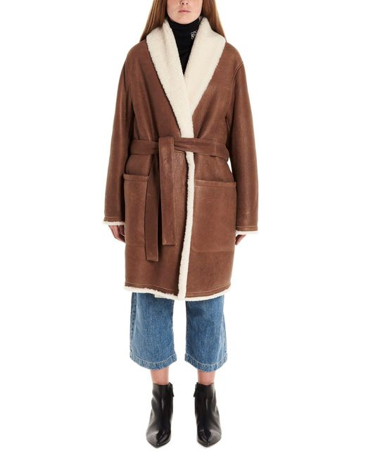 Loewe Brown Belted Leather Shearling Coat
