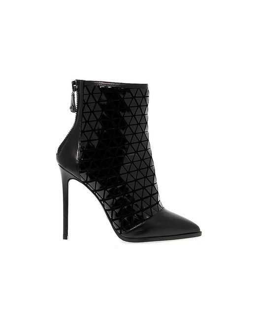Greymer Black Leather Ankle Boots