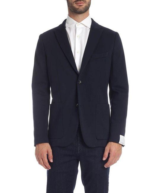 Paolo Pecora Blue Viscose Blazer for men