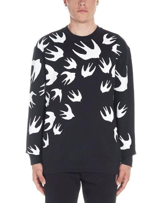 McQ Alexander McQueen Pullover mit Vogel-Print in Black für Herren