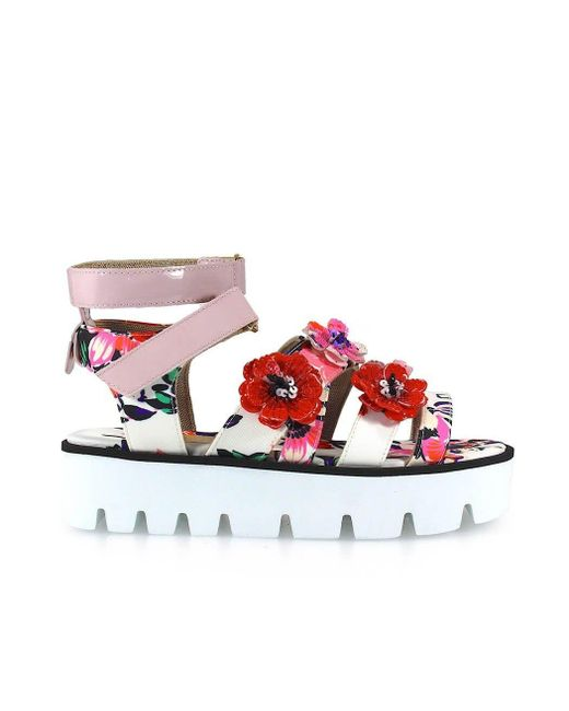 MSGM Multicolor White/pink Leather Sandals