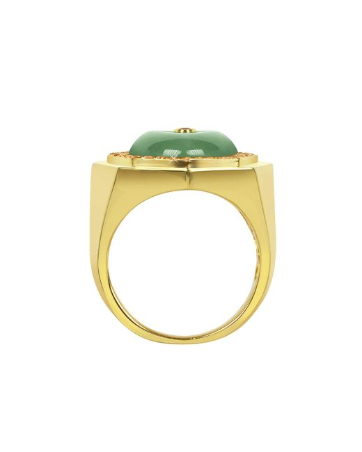 Sho London Green Silver Ring
