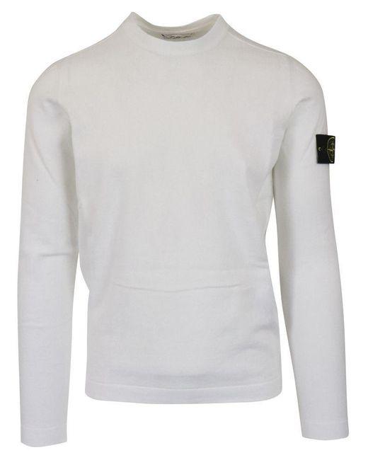 Stone Island White Sweater for men
