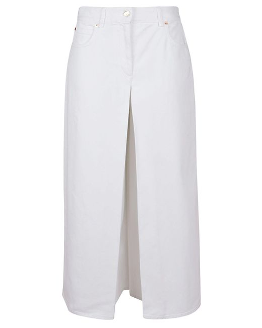 Valentino White Cotton Skirt