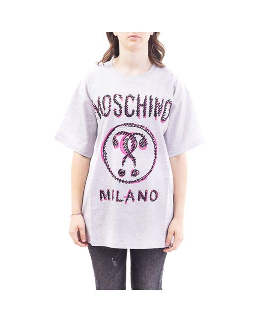 Moschino Gray Grey Cotton T-shirt