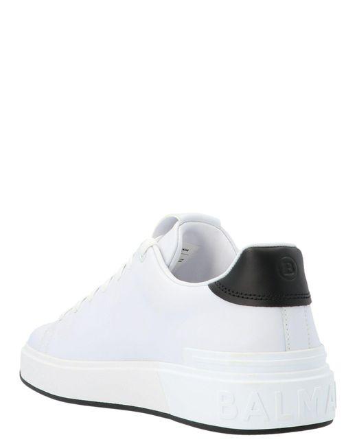 Balmain LEDER SNEAKERS in White für Herren
