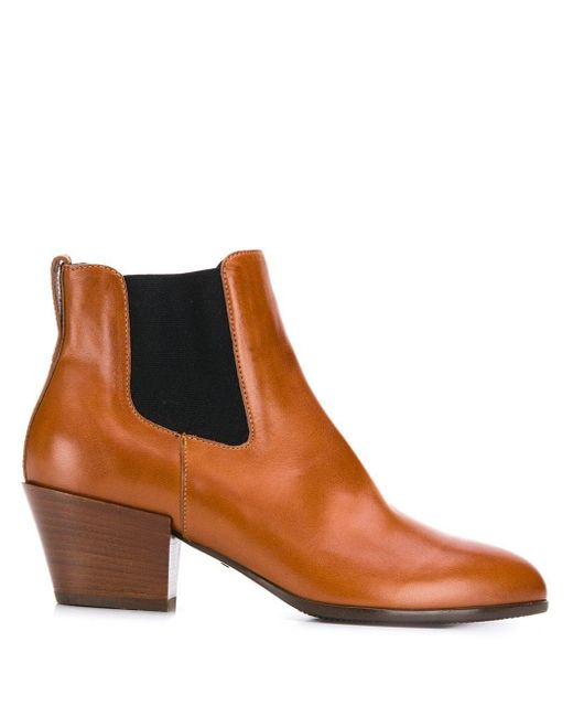 Hogan Brown Ankle Boots Texano