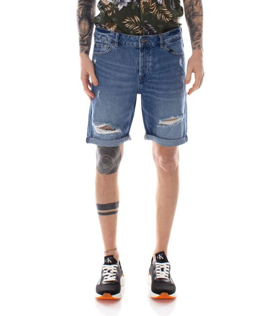 Only & Sons Blue Cotton Shorts for men