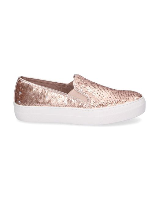 8542df00f74 Lyst - Steve Madden Gold Leather Slip On Sneakers in Metallic