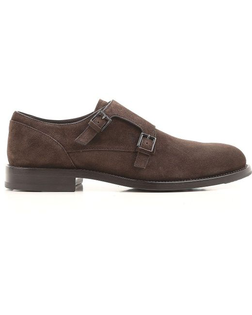 Tod's Brown Suede Monk Strap Shoes for men