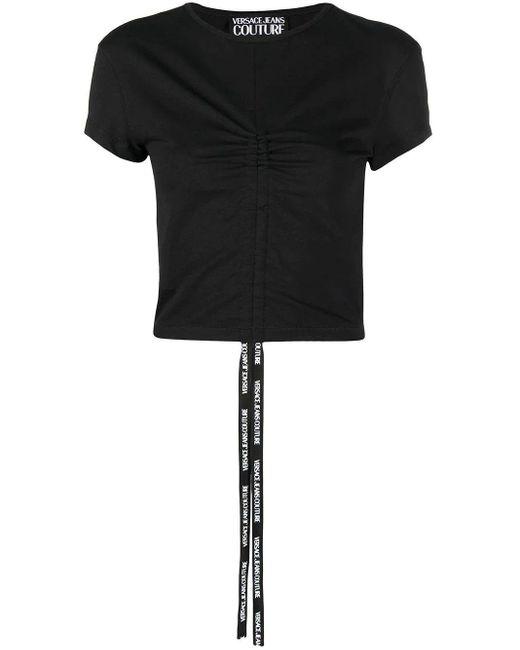 Versace Jeans Black Gerafftes T-Shirt