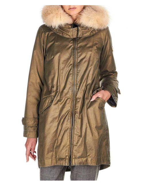 Peuterey Metallic Gold Polyester Outerwear Jacket