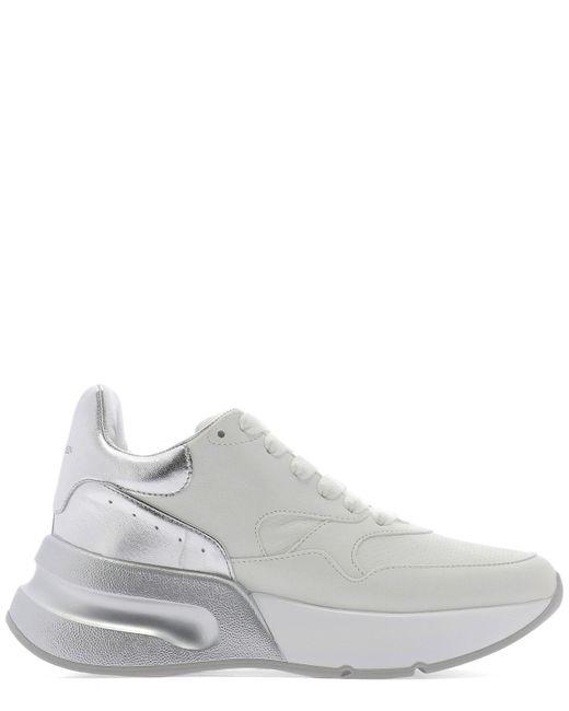 Alexander McQueen - Gray Grey Leather Sneakers - Lyst