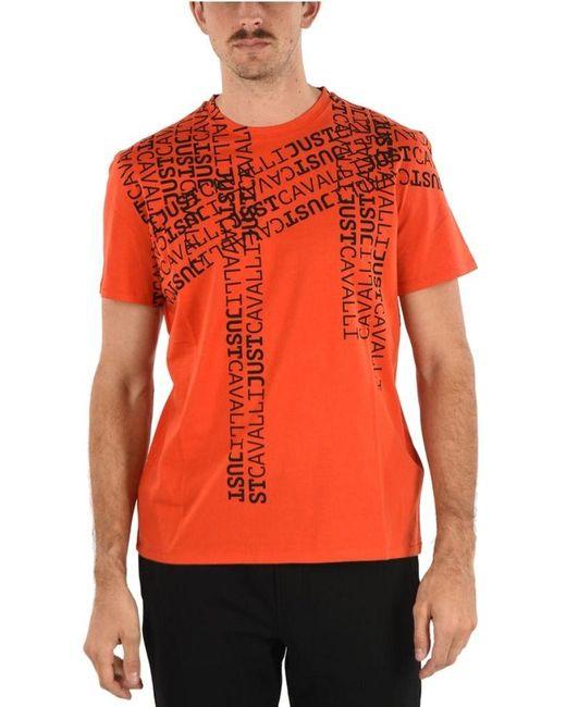 Just Cavalli BAUMWOLLE T-SHIRT in Orange für Herren