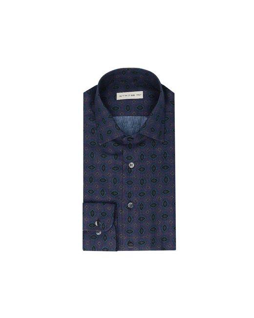 Etro Blue Cotton Shirt for men