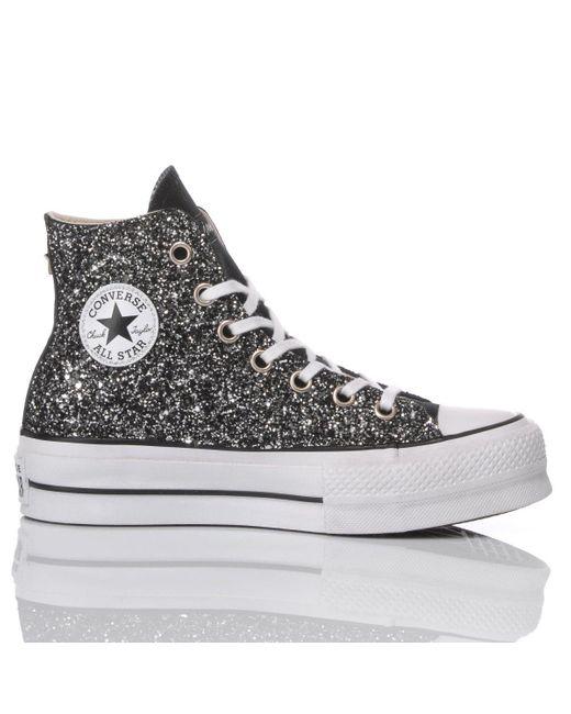 Converse Glitter Hi Top Sneakers in Black - Lyst