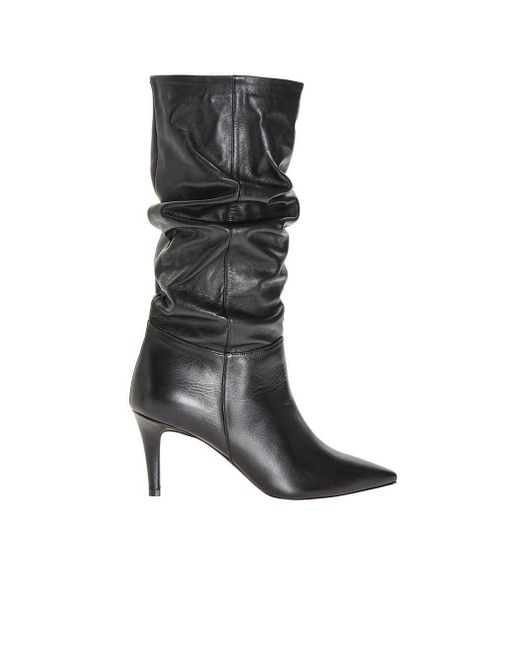 Pinko Black Leather Boots
