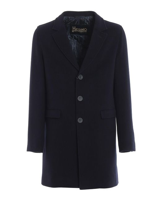 Herno Blue Wool Coat for men