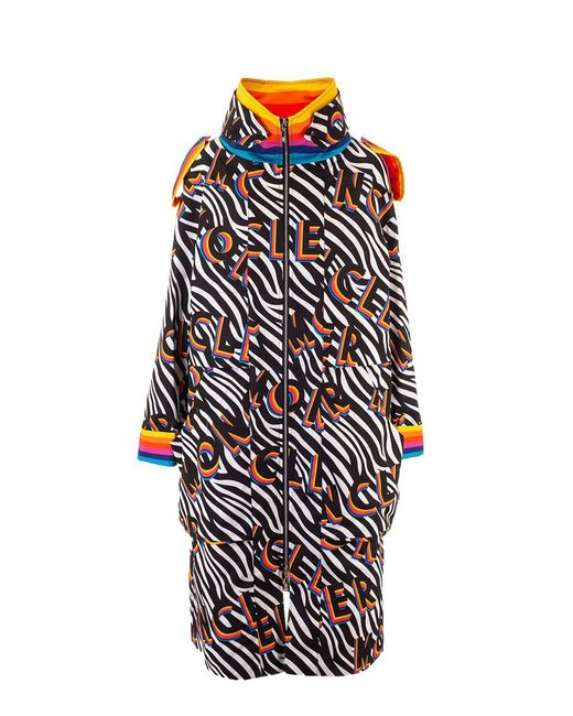 Moncler Black Multicolor Polyamide Coat