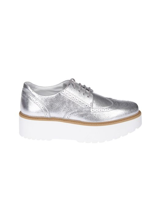 Hogan Metallic Silver Leather Lace-up Shoes