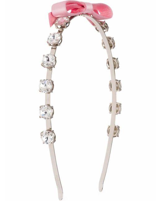 Miu Miu Pink Bow-embellished Crystal Headband