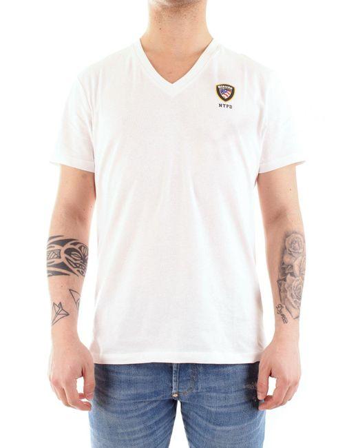 Blauer BAUMWOLLE T-SHIRT in White für Herren