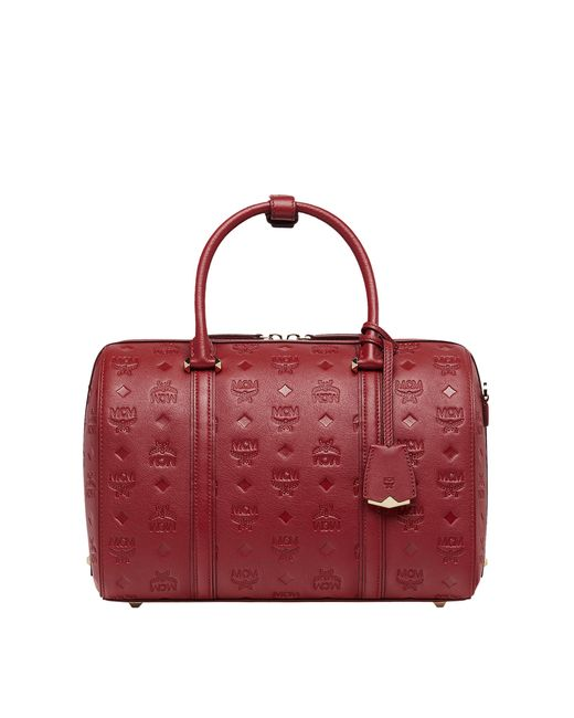 MCM - Red Essential Boston Bag In Monogram Leather - Lyst