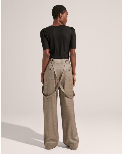 bf9f36d462 Women's Natural Wide-leg Jacquard Trouser With Braces