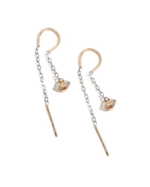 Melissa Joy Manning | Metallic Bezel Wrapped Herkimer Diamond Horseshoe Chain Earrings | Lyst