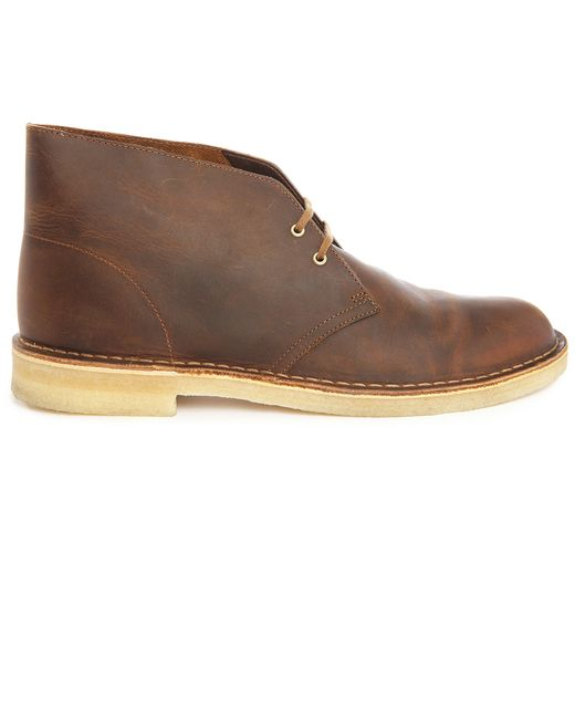 clarks gras brown leather desert boots in brown for lyst
