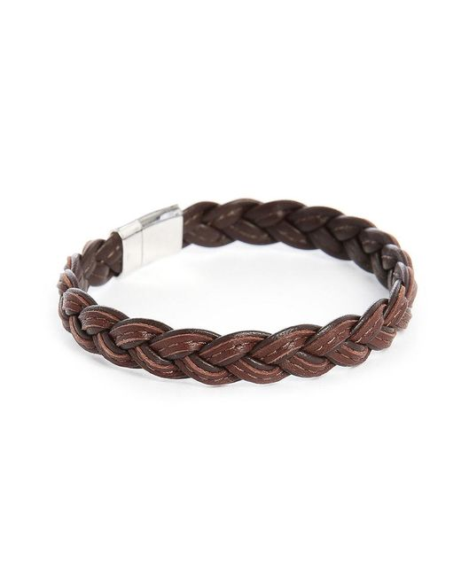 Tateossian | Brown Square Leather Bracelet Size M for Men | Lyst