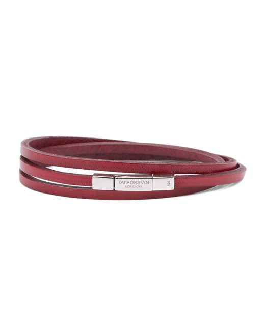 Tateossian | Metallic Fetuccinni Triple Bracelet 58 Cm In Silver And Red Leather for Men | Lyst