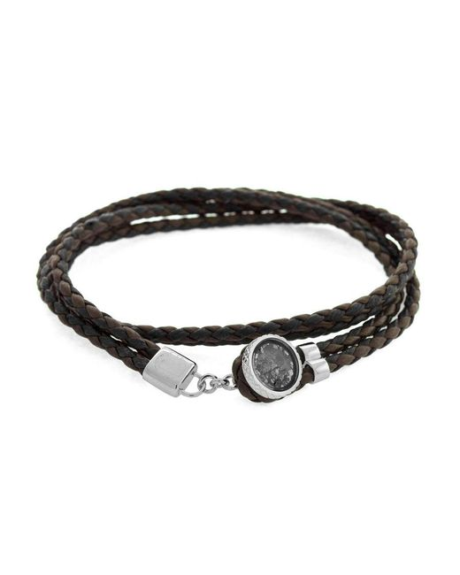 Tateossian | Metallic Diamond Button Double Bracelet 38 Cm In Silver And Brown Leather for Men | Lyst