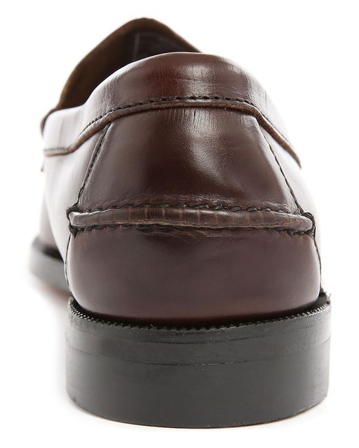 sebago brown leather boat shoes with leather soles in