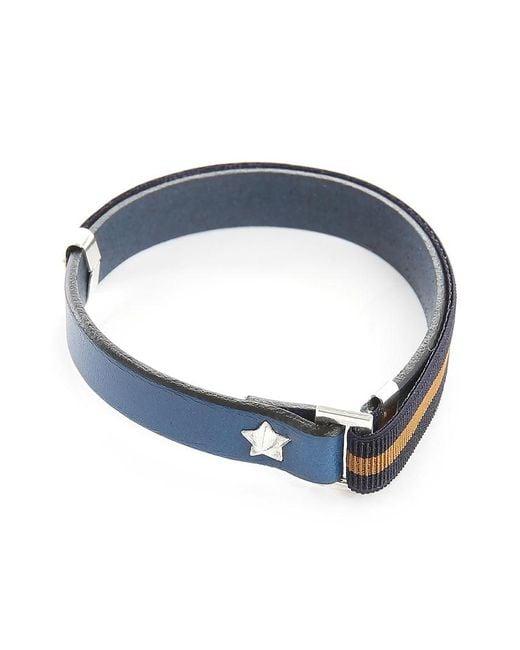 Gilbert Gilbert | Hen 13 Blue Leather Adjustable Bracelet And Stretch Band for Men | Lyst