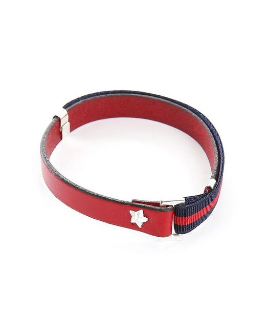 Gilbert Gilbert | Hen 13 Red Leather Adjustable Bracelet And Stretch Band for Men | Lyst
