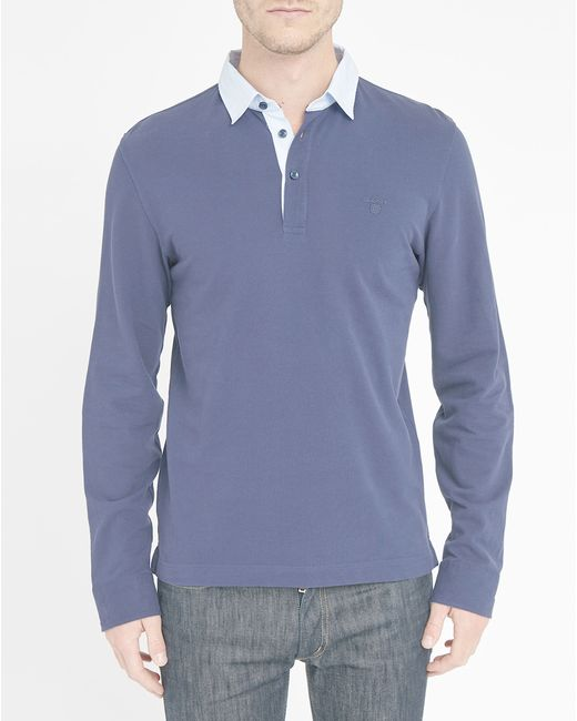 Gant Navy Striped Poplin Long Sleeve Polo Shirt In Blue
