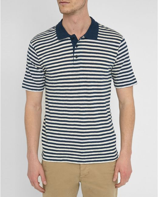 Armour Lux Navy And Ecru Cotton Linen Sailor Stripe Polo