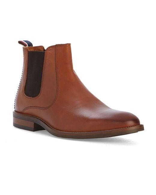 hilfiger brown cognac dallen leather chelsea boots for men lyst. Black Bedroom Furniture Sets. Home Design Ideas