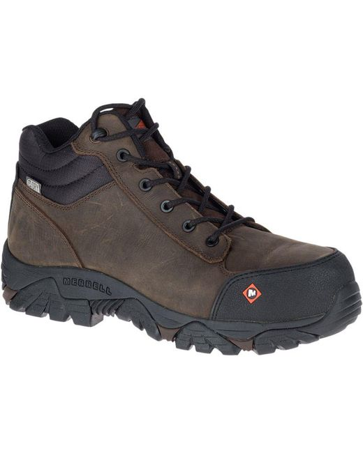 Merrell | Brown Moab Rover Mid Waterproof Comp Toe Work Boot Wide for Men | Lyst
