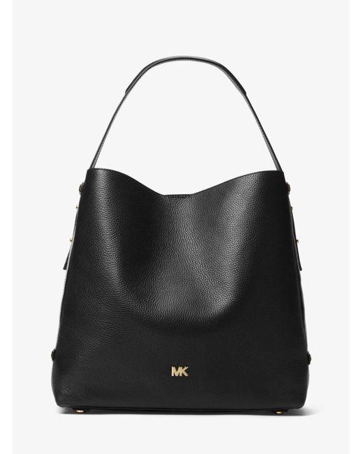 8299e678a6 Michael Kors Griffin Large Leather Shoulder Bag in Black - Save 25 ...