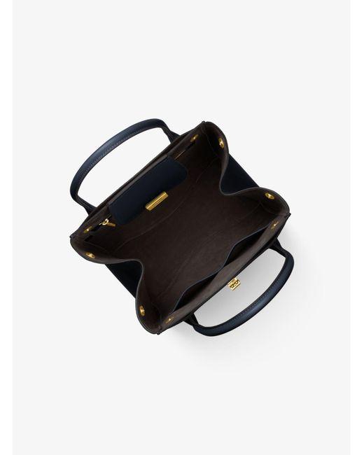 5a719e89347a0 ... Michael Kors - Black Bancroft Large Pebbled Calf Leather Satchel - Lyst  ...