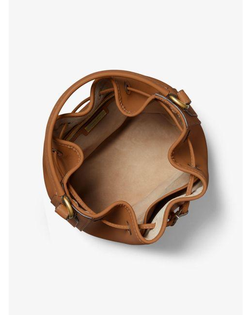 Michael Kors Brown Monogramme Medium Leather Bucket Bag